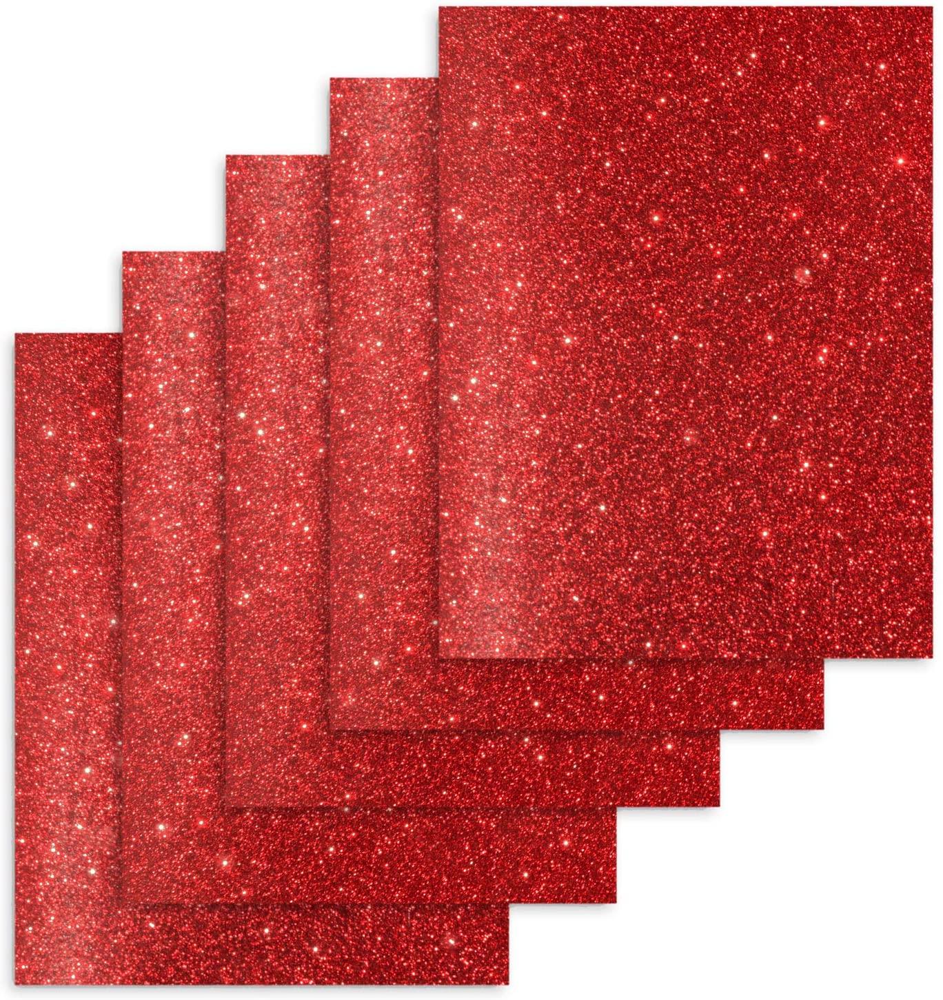 TECKWRAP Red Glitter Heat Transfer Vinyl, Glitter Red Iron on Vinyl Heat Press Vinyl for T-Shirts 12