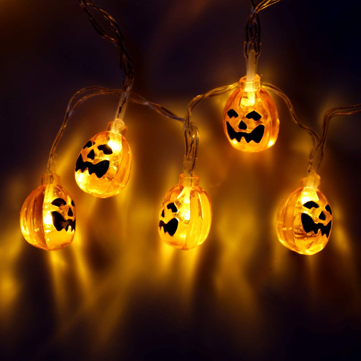 Halloween Decoration Lights String with Battery Operated, Orange Jack-O-Lantern, Warm Light Pumpkins and Purple Bats, 30 LED Lights for Indoor and Outdoor Party, Festival (Little Pumpkin)