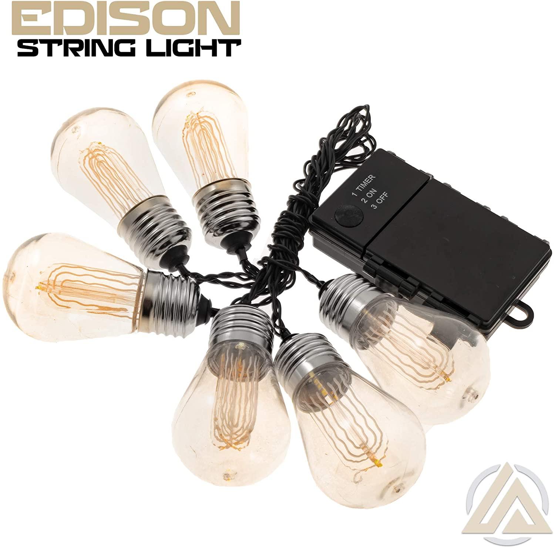 LitezAll Vintage Outdoor String Lights - Led Edison Bulb - 6 Piece Set - Decorative Café Patio Lights - 3 AA Alkaline Batteries Not Included - Weatherproof UL Listed Heavy-Duty