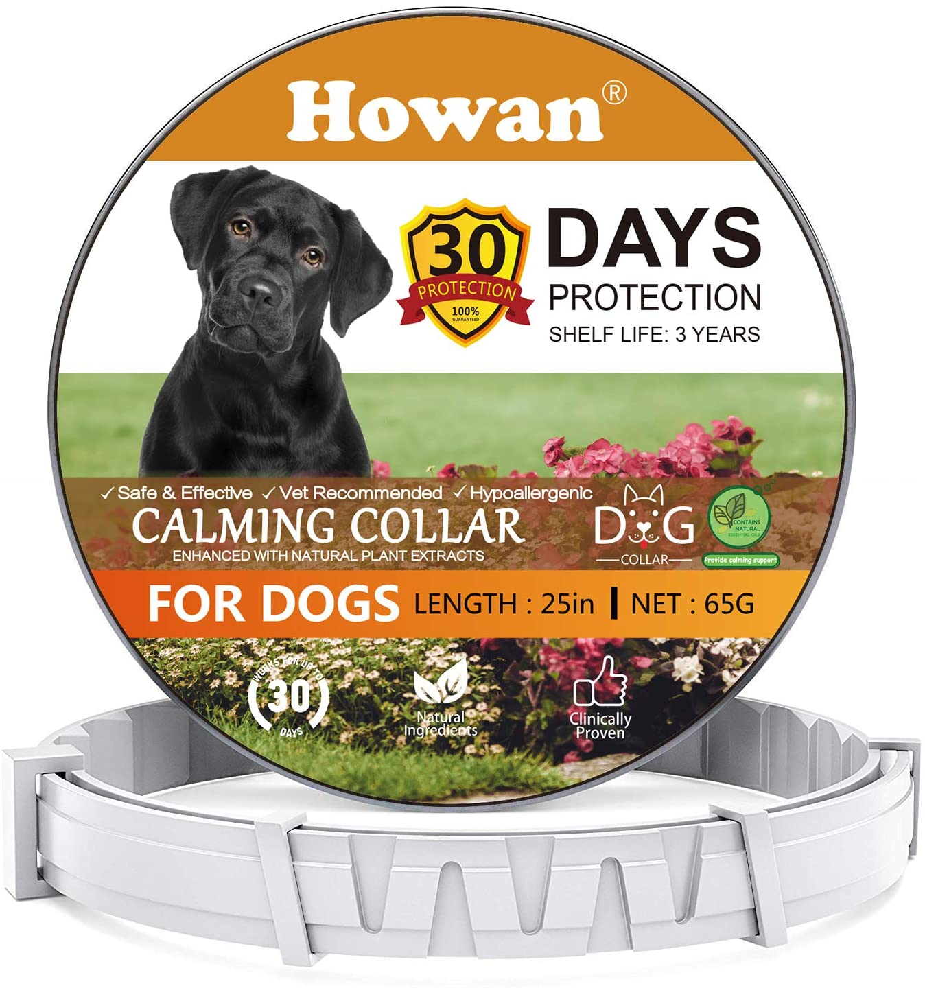 Howan [2020 Newest Calming Collars for Dogs, Adjustable Dog Collars- Natural Pheromones for 30 Days Protection, Reduce Anxiety Dogs- Waterproof Long-Lasting Calming Effect- 25 Inch