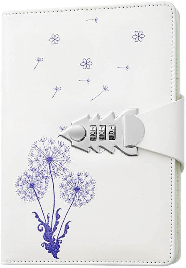 JunShop A5 PU Leather Password lock Diary Personalized Journal With Lock Diary With Combination Lock For Girls Boys (Style 1)