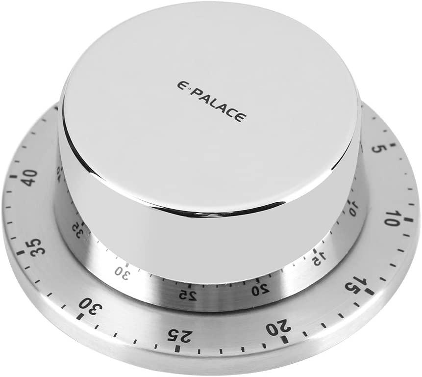 Kitchen Timer, Manual Mechanical Kitchen Timer with Magnetic Base, Countdown Alarm Cooking Baking Washing Timing Tool(Silver)