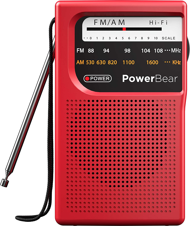 PowerBear Portable Radio   AM/FM, Battery Operated, Long Range (Red)