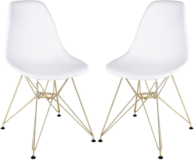 Stram Mid Century Modern Side Chair, White, Set of 2 (Gold-Finish Base)