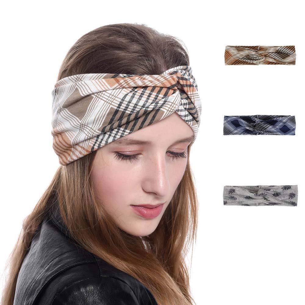 Boaccy Boho Sweatband Sport Hair Band Running Hair Accessories Headwarp Elastic Turban for Women Girls and Men 3 Packs (BLUE)