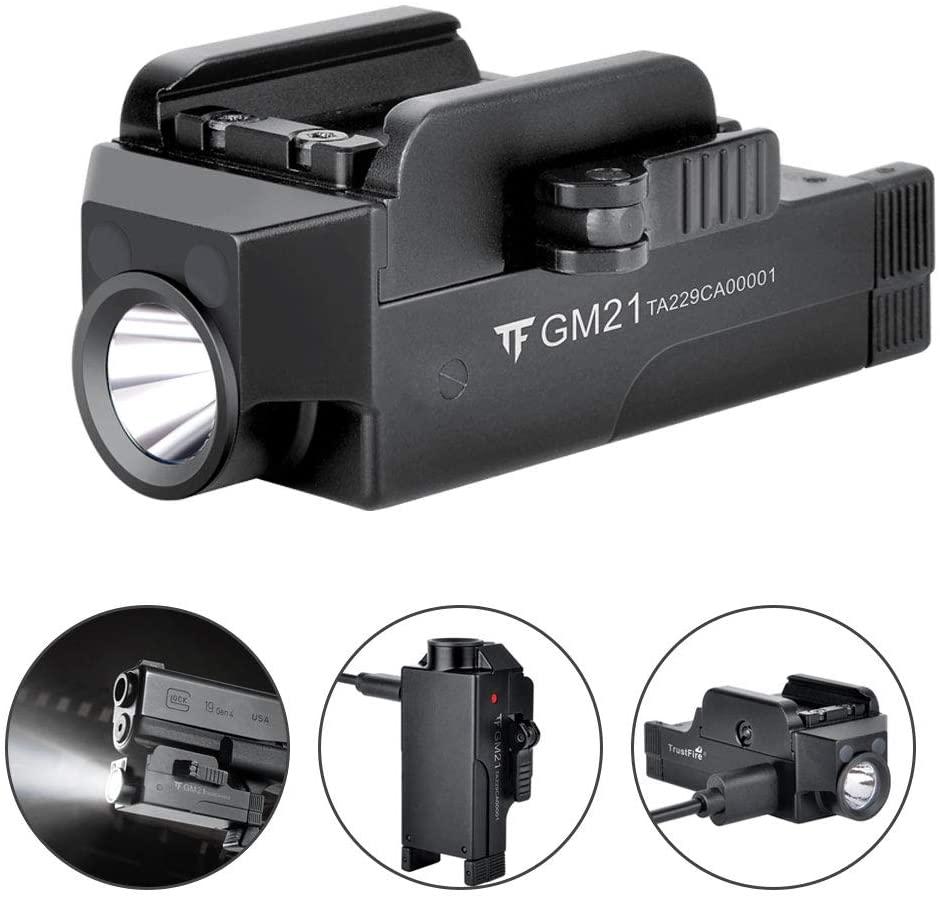 TrustFire GM21 Pistol Light 510 Lumens Gl ock Weapon Rail Mounted Flashlight Bright Gun-light USB Rechargeable Quick Release Compact