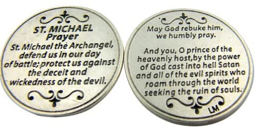 Religious Gift Saint St Michael the Archangel Prayer Protect Us Pocket Token