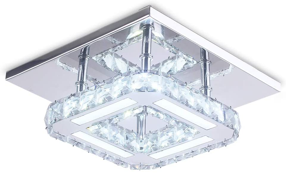 Chandelier Crystal, Modern Square Crystal Ceiling Light Flush Mount Not Dimmable LED Pendant Lighting with 6000K Lamp for Bedroom Foyer Entry Dining Room Hallway (Cool White)