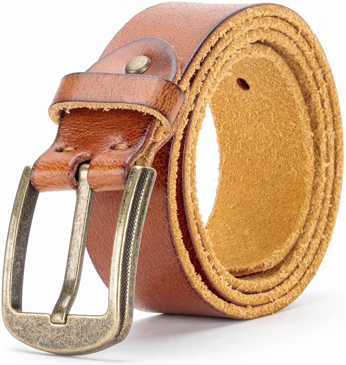 Men's 100% Full Grain Leather Belt Men With Single Prong Buckle Jeans Dress