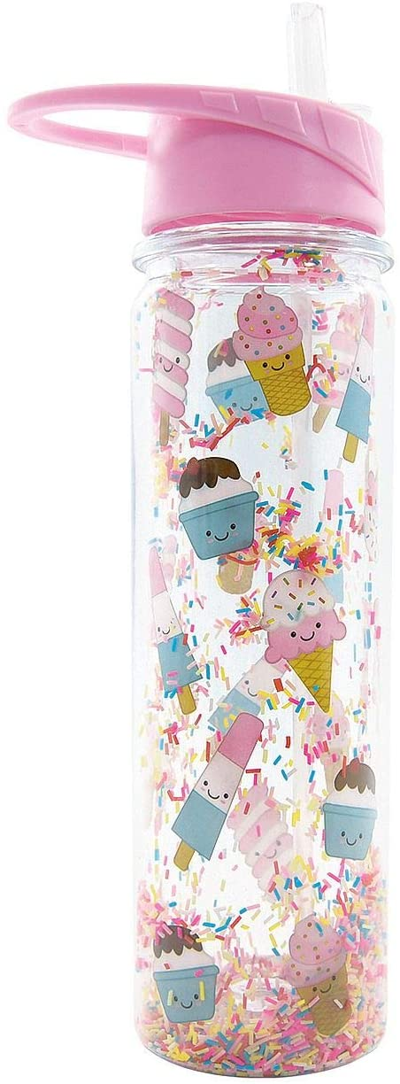 iscream 'Ice Cream Cuties' Flip-Top, BPA Free, 18 oz Double Walled with Glitter Water Bottle