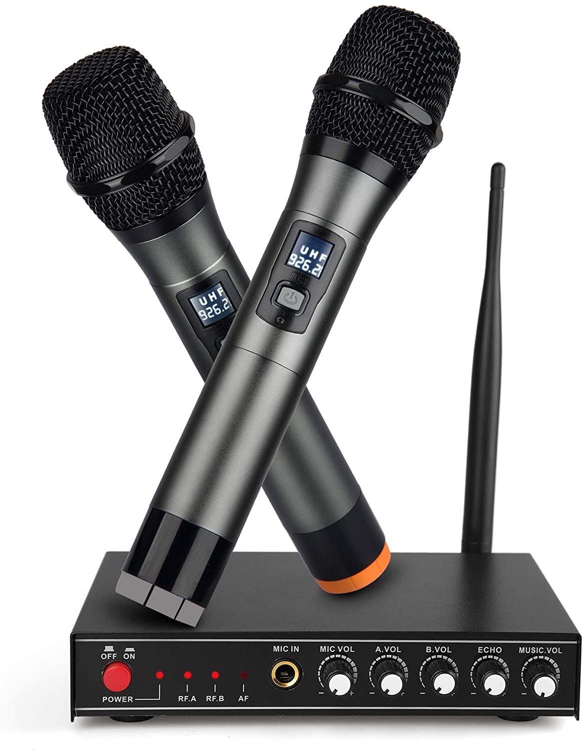 UHF Wireless Microphone System,Frunsi Dual Cordless Handheld Microphone Echo Control with Multiport Receiver, Support Long Range Wireless Signal for Home Karaoke, Singing, DJ, Churching, Presentation