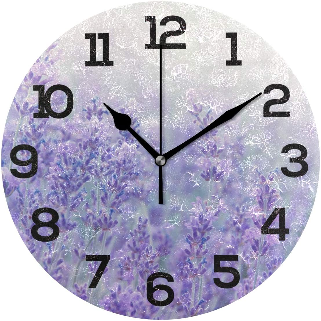 IMONKA Lavender Purple Round Wall Clock Non Ticking Silent Acrylic Clocks for Home Decor Living Room Bedroom Kitchen School Office