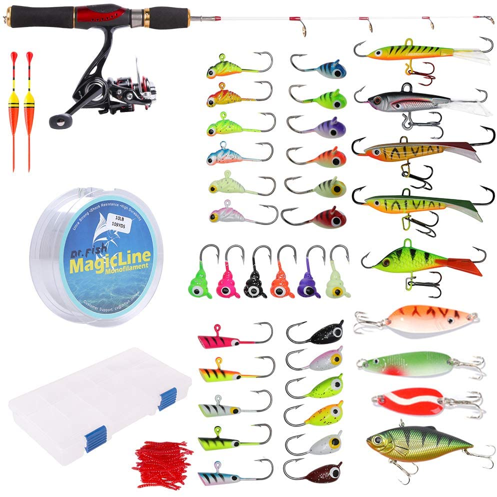 Dr.Fish Kids Fishing Combo Ice Fishing Rod Reel Combo Complete Kits with Backpack Seat Box Ice Jig Rap Shad Spoon Catch Ready