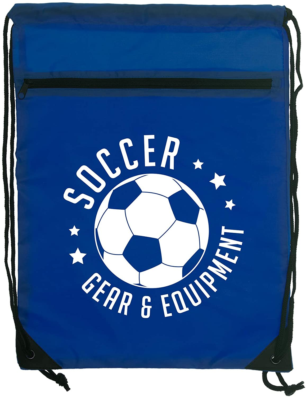Soccer Gear & Equipment Royal Blue Denier Nylon Drawstring Style Gym Sling Tote Bag with Zippered Pocket