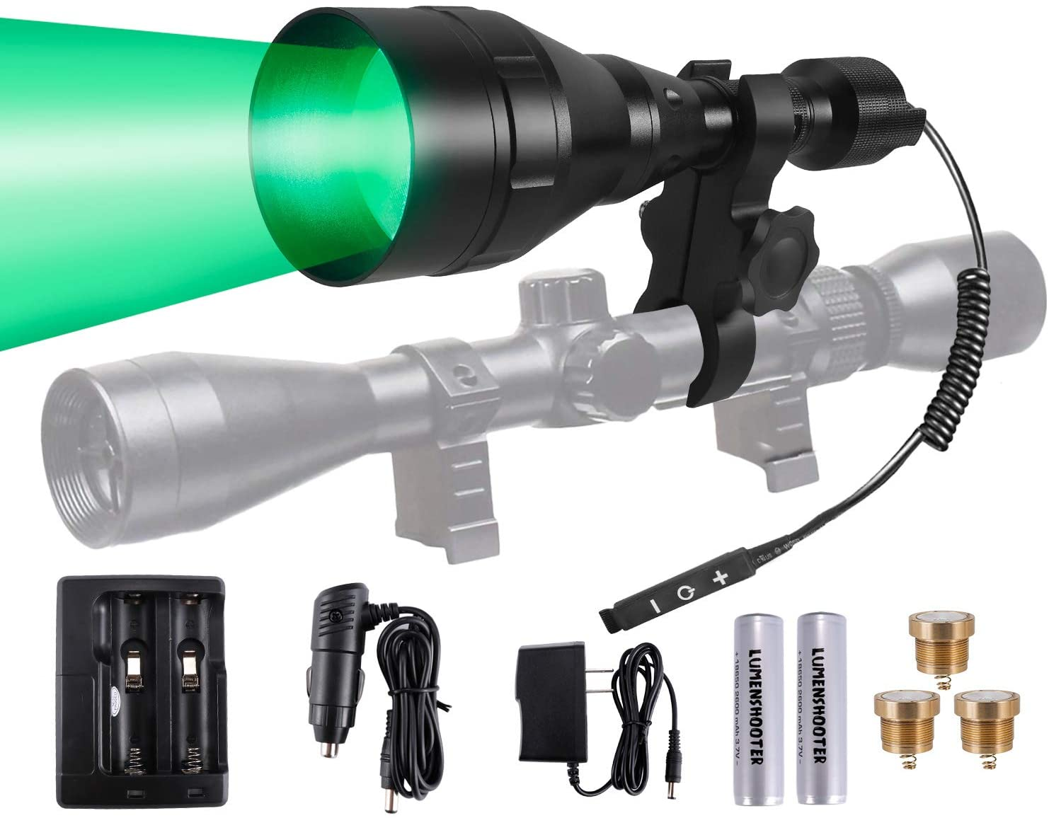 LUMENSHOOTER A9P Long Range Dimmable Hunting Light Kit,Green Red White Infrared 850nm IR Interchangeable LED Modules,Predator Night Torch Zoomable Flashlight for Coon Coyote Hog Fox Varmint