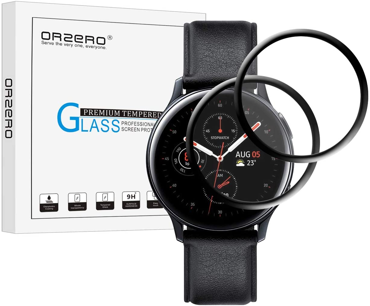 (2 Pack) Orzero Compatible for Samsung Galaxy Watch Active 2 (44mm) Screen Protector, 2.5D Arc Edges HD Anti-Scratch Bubble-Free (Lifetime Replacement)
