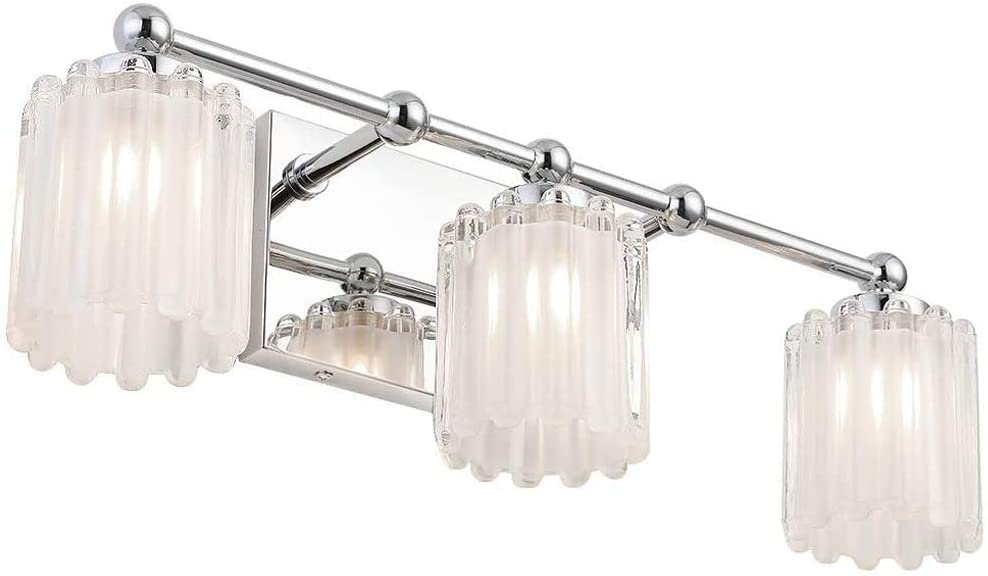Mateyrie 3 Light Bathroom Vanity Light, Chrome Bathroom Light Fixtures LED Modern Crystal Glass Vanity Lights Wall Sconce Lamp for Bathroom(Bulbs Included)