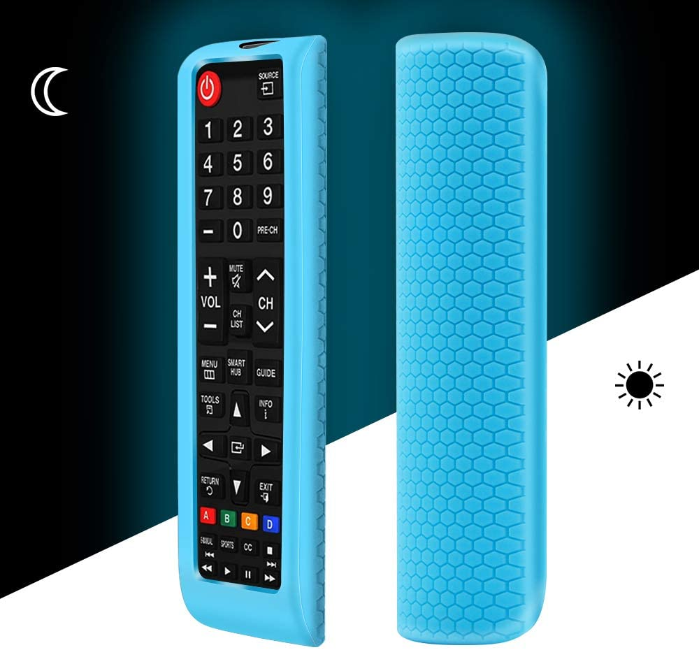 Remote Protective Case Covers,Shockproof Silicone Remote Bumper Back Cover,Remote Holder Skin Sleeve Accessories,fit Samsung BN59-01315A BN59-01199F AA59-00666A BN59-01301A Remote Control-Glowblue