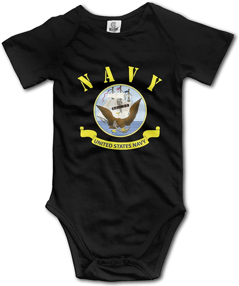 FRTSFLEE Flag of The United States Navy Baby Onesies Unisex Funny Short-Sleeve Toddler Clothes Cute Cotton Bodysuits ,Black ,0-3M