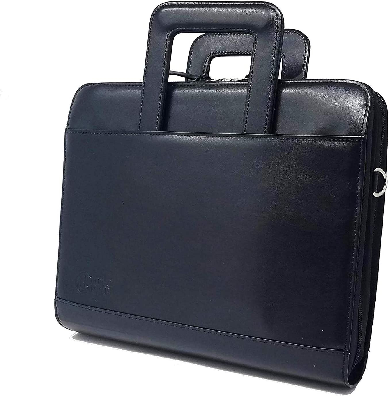 ImpecGear Travel Briefcase Portfolio Padfolio 3- Ring Binder File Divider Organizer W/Smart Handle Double Zippered Closure (Black-UPGRADED-1.5 INCHES RING-DC3062)