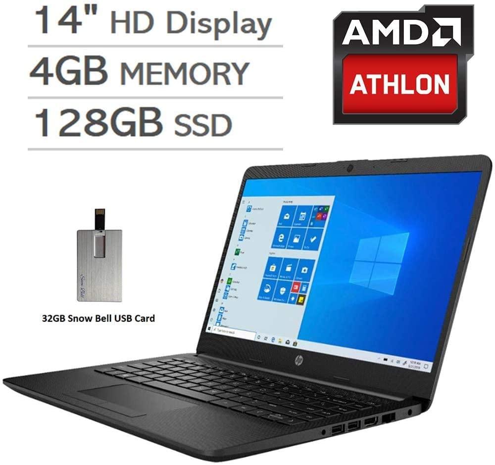 2020 HP Pavilion 14 HD LED Laptop Computer, AMD Athlon Silver 3050U Processor, 4GB RAM, 128GB SSD, AMD Radeon Graphics, USB-C, Stereo Speakers, Built-in Webcam, Win 10, Black, 32GB Snow Bell USB Card