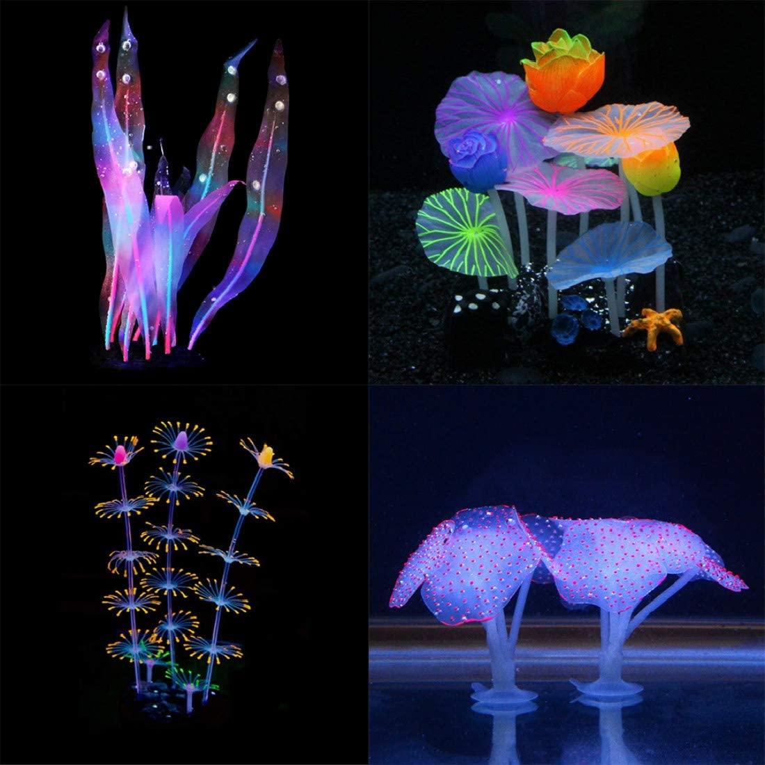 Aquarium Fish Tank Ornament,Simulation Coral Plant Decorations Glowing Silicone Accessories 5Pieces