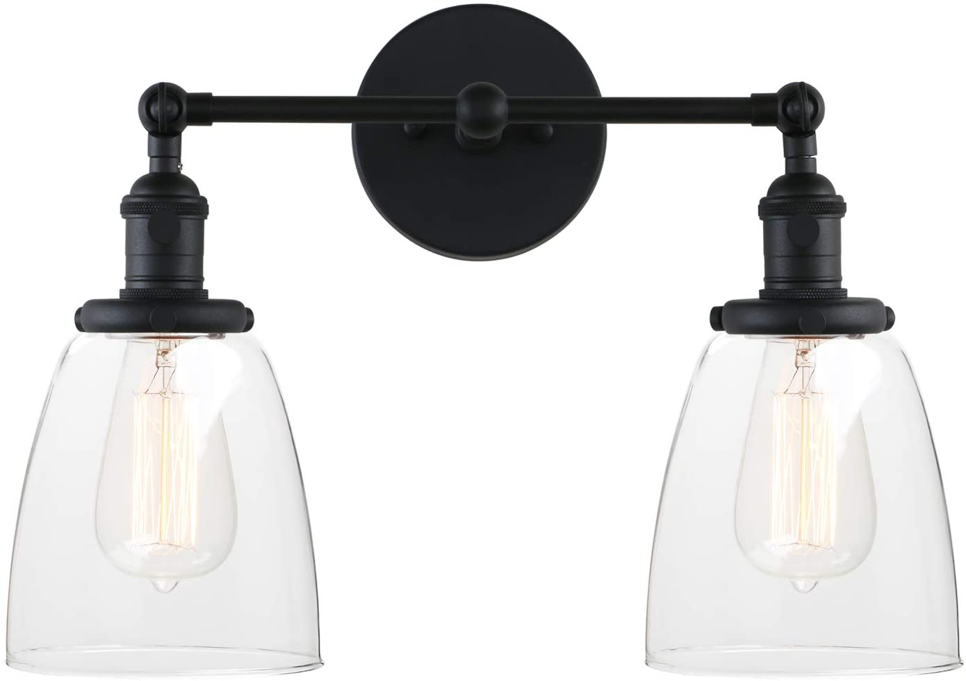 Pathson 2 Light Wall Sconce, Vintage Style Industrial Wall Light Fixtures with Oval Cone Clear Glass Shade for Bathroom Lighting