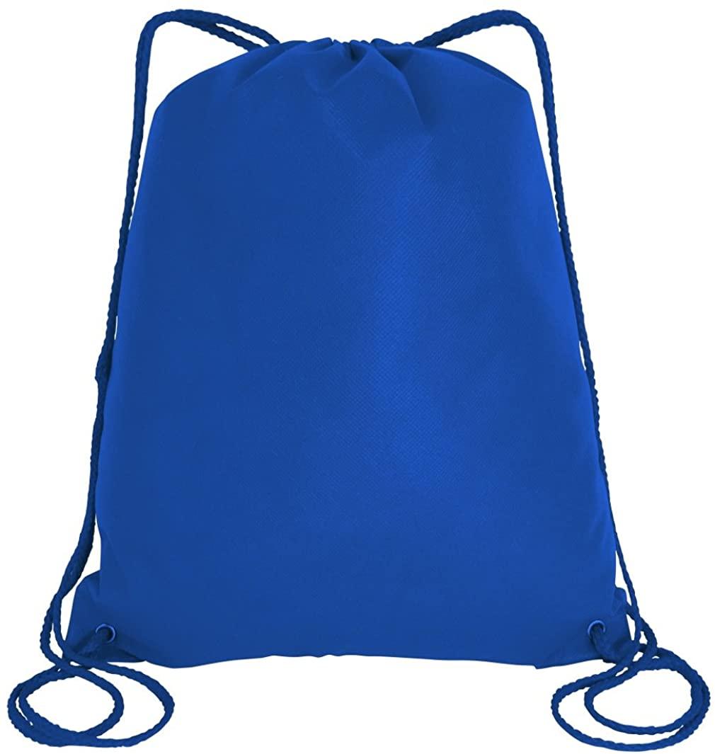 Large Drawstring Backpack Gym Sack Bag Foldable Cinch Bag Sport, Travel Shopping (3, Royal)