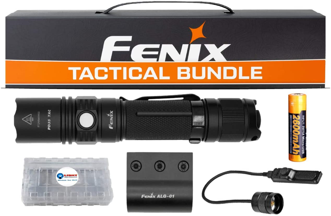 Fenix PD35 Tactical Flashlight Bundle, 1000 Lumens, Holster, Pressure Switch, Rail Mount, 2600 mAh Rechargeable Battery, and Lightjunction Battery Box