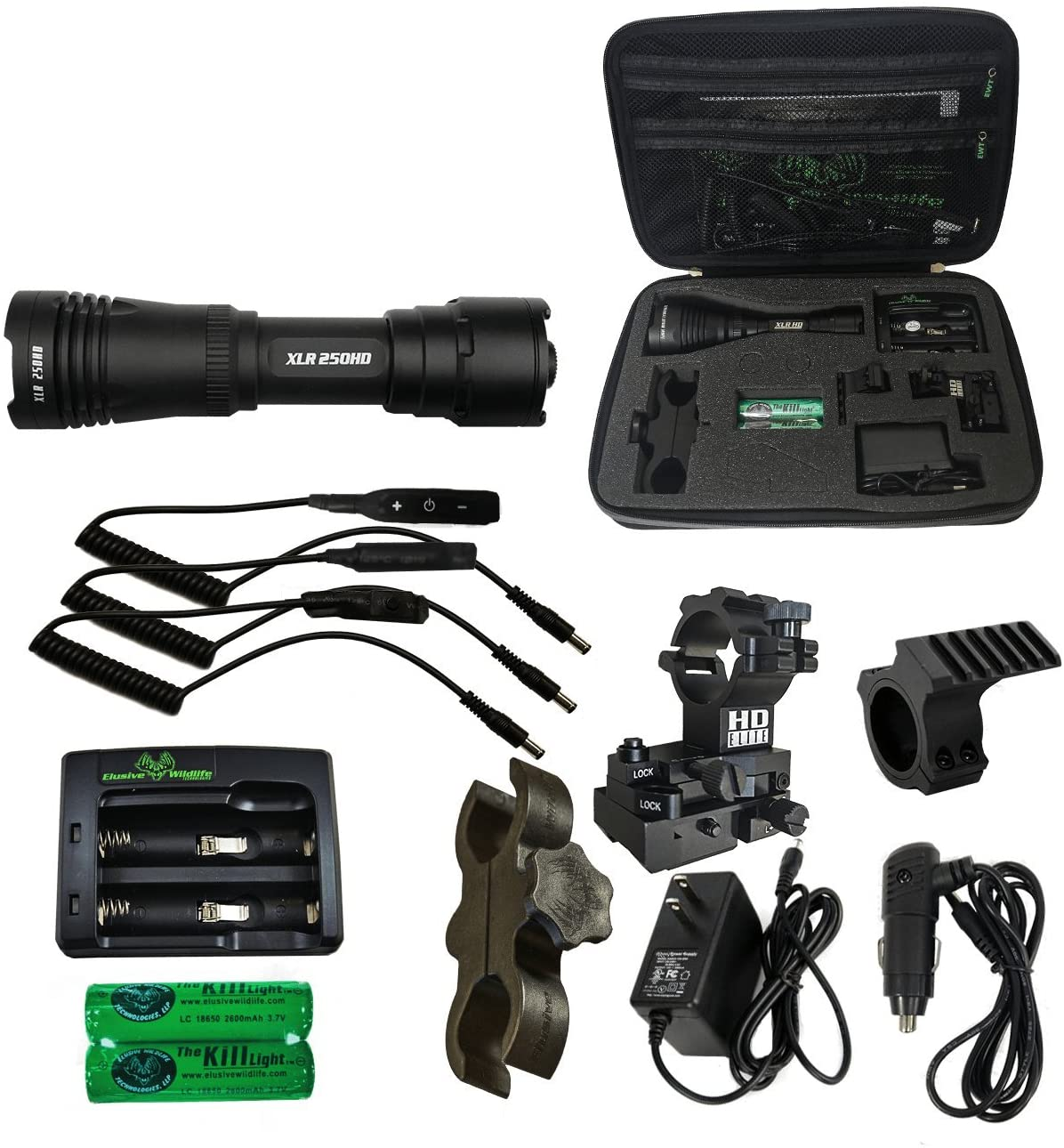 Elusive Wildlife Kill Light HD Series Hunting Gun Light Package 250HD 500HD 750HD