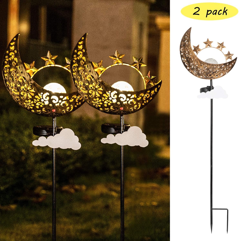 Solar Lights Outdoor Garden - 2 Pack Metal Moon Stakes Garden Art Crackle Glass Globe Lights for Patio, Lawn, Pathway, Yard (Moon)