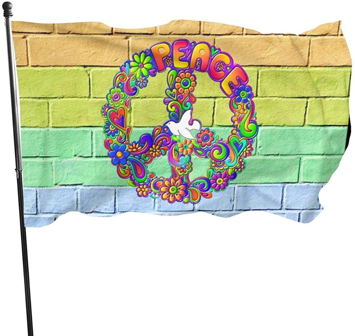 Hippie Flower Power Peace Sign 3x5 FT American Flag, Outdoor Banner, Family Banner, Garden Banner Black