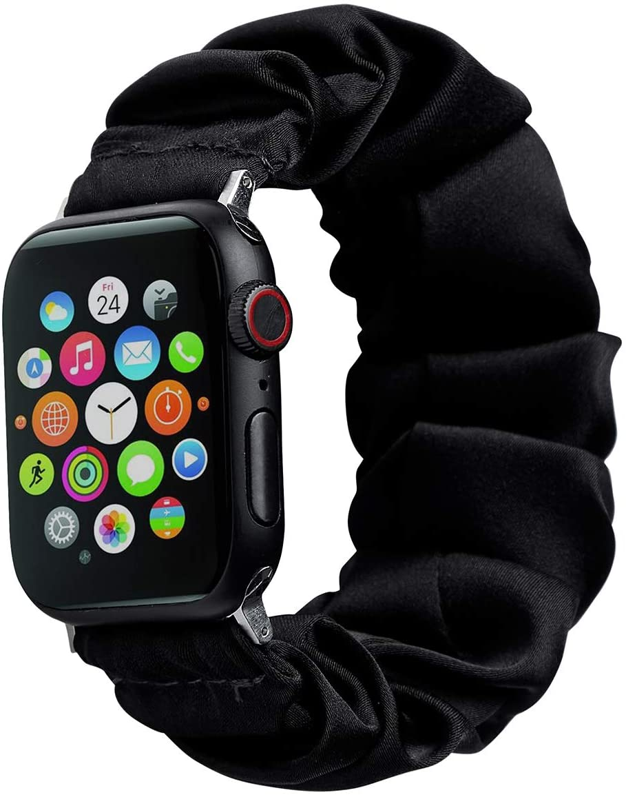 Scrunchie Watch Band Compatible with Apple Watch, Flower Printed Wristband Replacement Bracelet Strap for iWatch Series 5/4/3/2/1, Women VSCO Girl, 42/44mm, Black