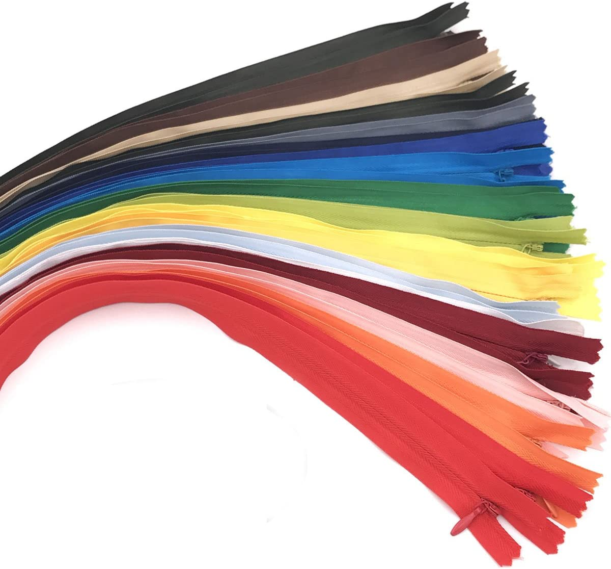 40PCS Nylon Invisible Zipper Tailor Sewer DIY Sewing Accessories for Garment/Bags/Home Textile(20 inch,Mix Color)