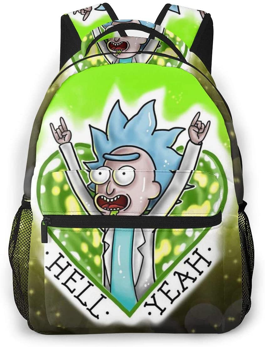 Back to School Gift - Travel Hiking & Camping Rucksack Gym Outdoor Hiking Bag Large Capacity Backpack Cartoon Crazy Rick-and-Morty Art College School Bookbag for Man/Women/College