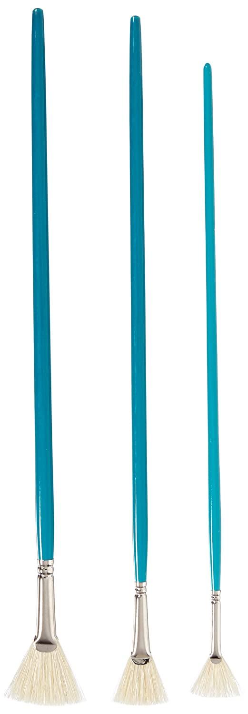 Sax White Bristle Fan Blender - Sizes 2, 4, and 6 - Set of 3