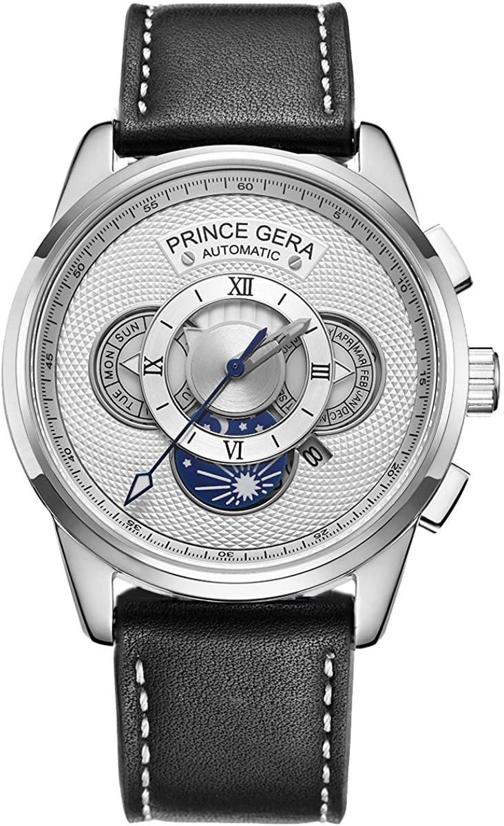 Prince GERA Men's 18K Gold Watch Date Day Month Calendar Calfskin Genuine Leather Wristwatches