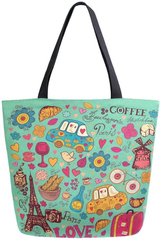 ZzWwR Vintage Paris Symbols Pattern Large Canvas Shoulder Tote Top Handle Bag for Gym Beach Travel Shopping