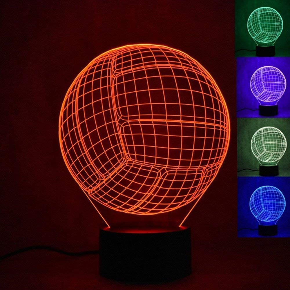 3D Volleyball Night Light 7 Colors Changing USB Power Touch Switch Decor Lamp Optical Illusion Lamp LED Table Desk Lamp Children Kids Brithday Christmas Gift