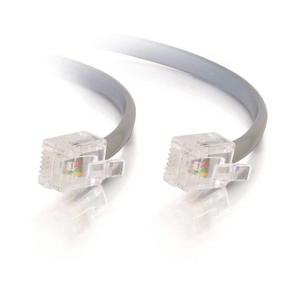BoltLion BL-694634 14 Feet RJ11 Modular Premium Telephone Cable [Data, 6P4C, Straight] for Homes, Offices, Hotels or Schools - Silver, 4 Pack