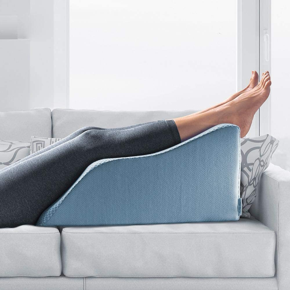 Lounge Doctor Elevating Leg Rest Pillow Wedge w Cooling Gel Memory Foam Light Blue Cover Small 18