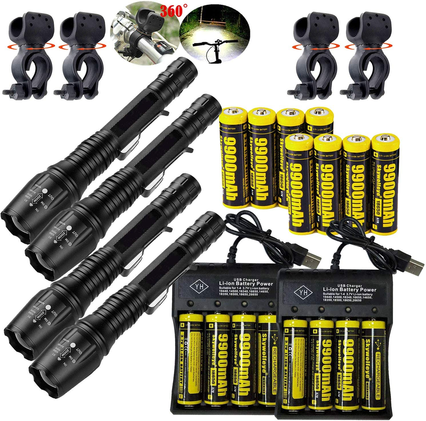 4 Set Tactical Zoomable 90000LM 5 Modes Portable LED 18650 Flashlight 9900mAh Rechargeable Batteries 4 Slots USB Universal Smart Battery Chargers Bike clip for Camping Hiking Running Outdoor