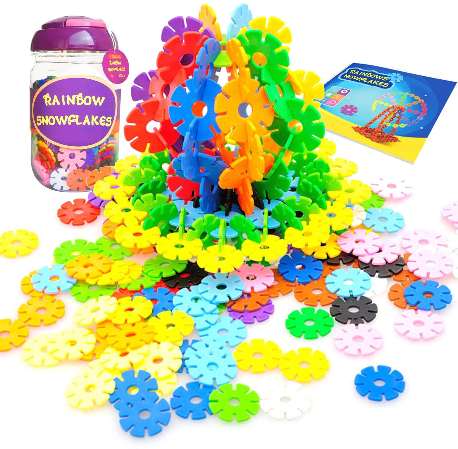 KUTOI Rainbow Snowflakes Building Blocks - 300 Piece STEM Montessori Educational Learning Toys - Interlocking Discs Construction Set - Brain Toys for Boys & Girls of 3 Years Old & Up