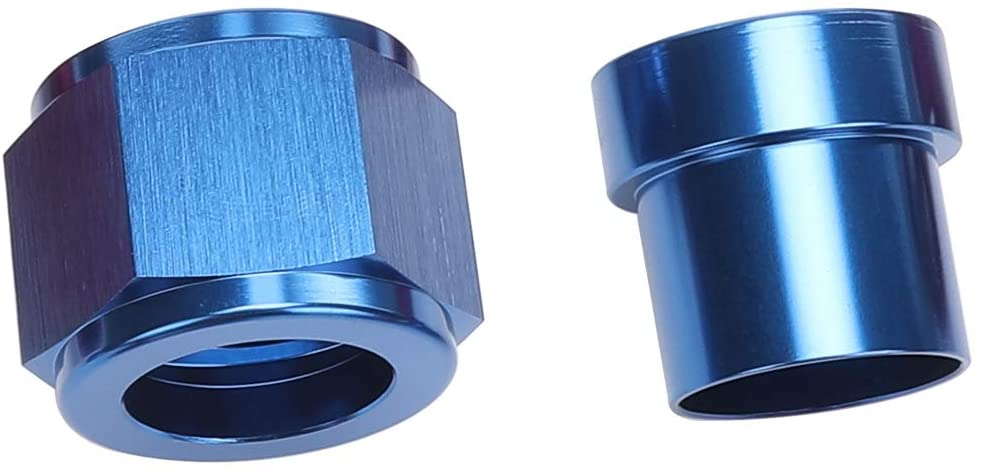 AC PERFORMANCE AN10 Blue Aluminum Hardline Fitting -10 AN Female Tube Nut and Sleeve For 5/8'' 5/8 inch (15.87mm) outer diameter alloy Tube Hose Line Fitting