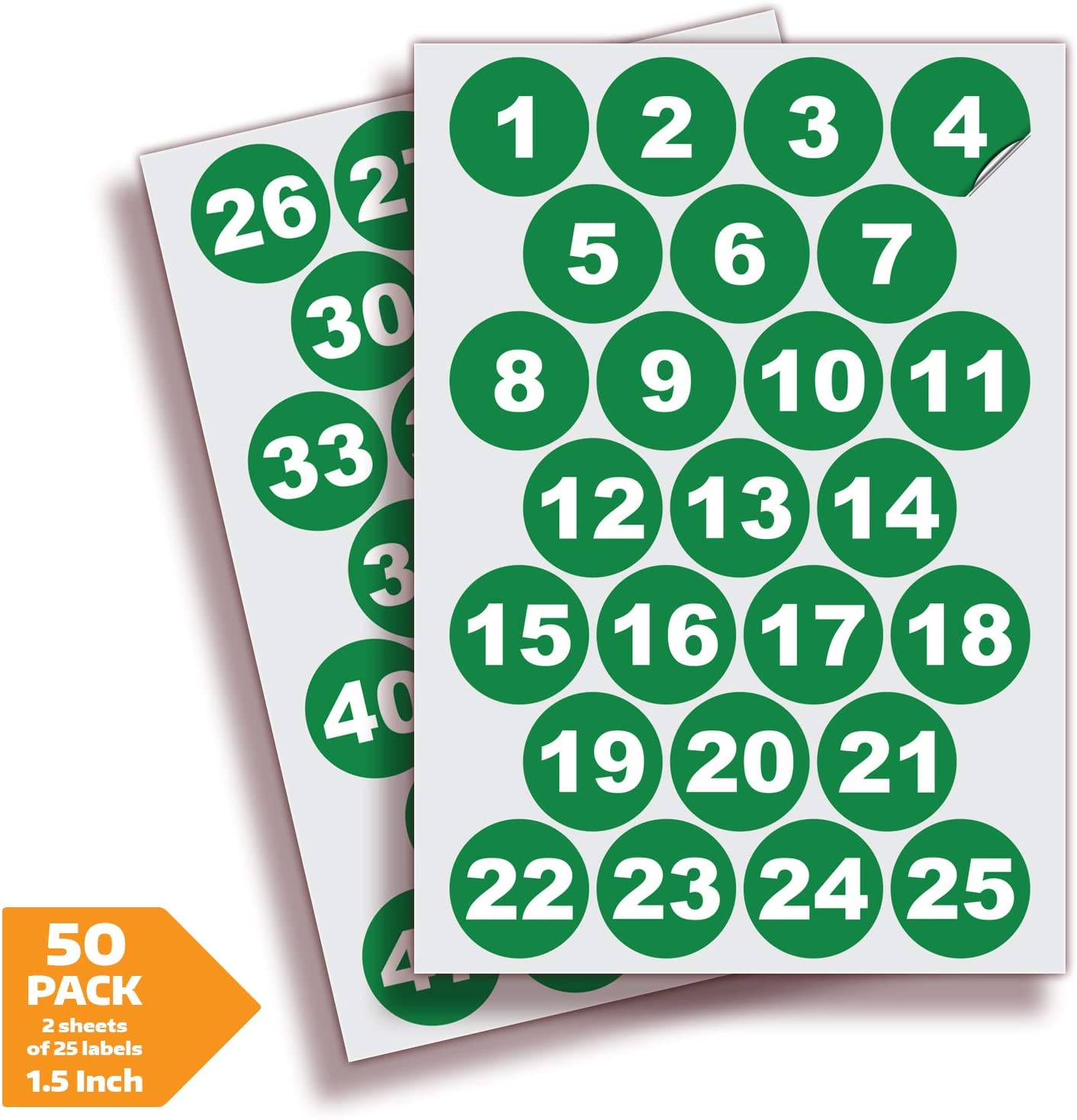 Green Vinyl Consecutive Number Stickers - 1 to 50, 1.5 inch Self-Adhesive - Premium Decal for Indoor & Outdoor, Ideal for Inventory, Storage, Organizing, Great on Boxes, Bins, Toolbox, Lockers & More