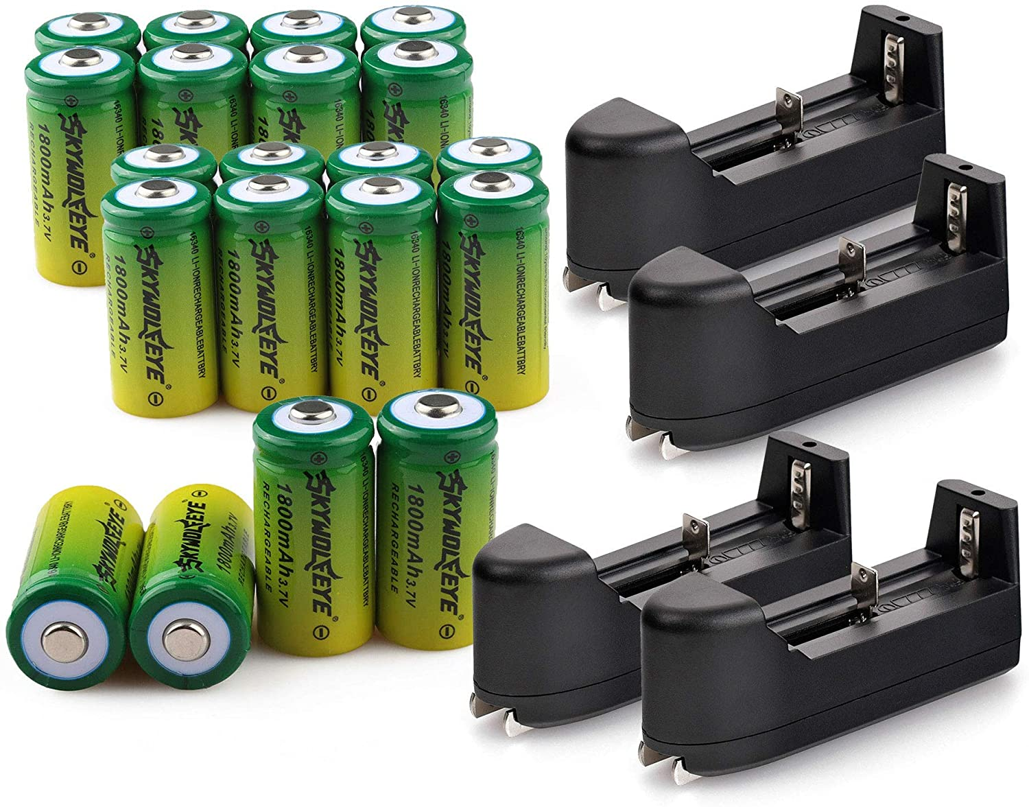 20 PCS 3.7V 1800mAh Li-ion 16#340 Battery CR123A Rechargeable Batteries & 4 PCS Single Slot Universal Rechargeable Charger for Alro or LED Flashlight Torch Headlamp