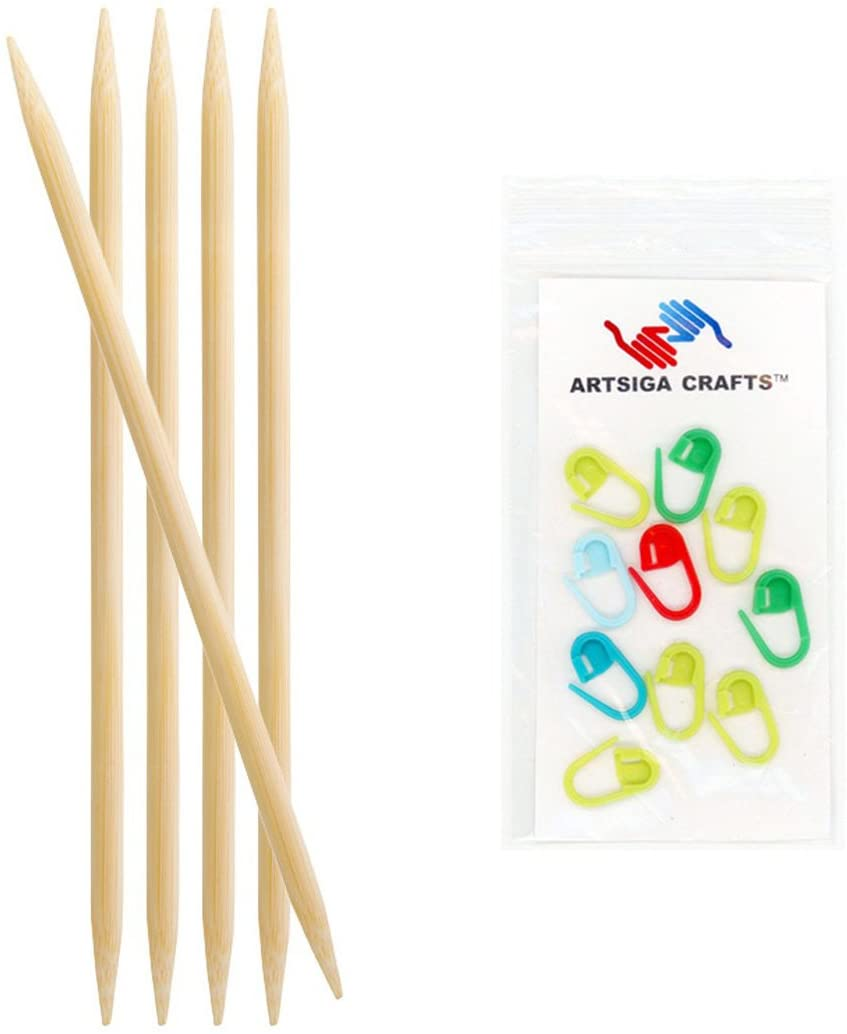 Knitters Pride Knitting Needles Bamboo Double Pointed 8 inch (20cm) Size US 2 (2.75mm) Bundle with 10 Artsiga Crafts Stitch Markers 900119