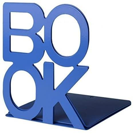 Bookends Book End Book Organizer?KIXIGO Cute Fashion Book Style Nonskid Library School Office Home Study Metal Bookends Art Book Shelf?1 Pair (Blue)
