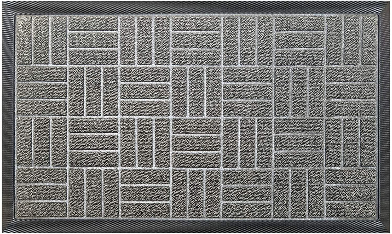 Premium Antibacterial Door Mat | Gray 18 x 30 inches | Indoor \ Outdoor Doormat w Anti-Skid Rubber Back | Water Absorbent Entryway Mat | Easy to Clean Bootscaper | Low Profile Entry Mat