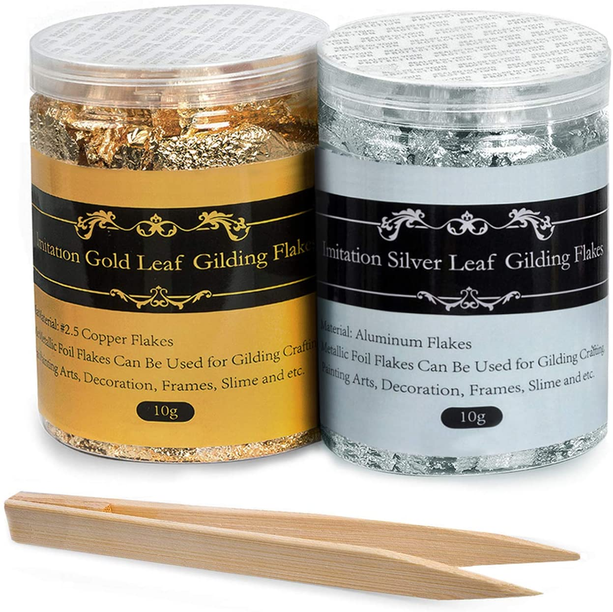 Gilding Flakes - Color 2.5 Imitation Gold Flakes and Silver Flakes, 2 Bottles Metallic Foil Flakes for Painting Arts and Crafts,Nail Art